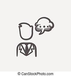 bulle, croquis, icône, parole, homme
