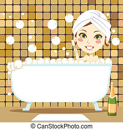bulle, délassant, bain
