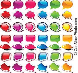 bulle discours, coloré, icônes