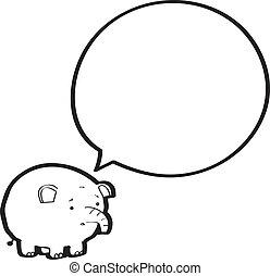 bulle discours, dessin animé, éléphant