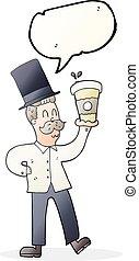 bulle discours, dessin animé, homme, à, tasse à café