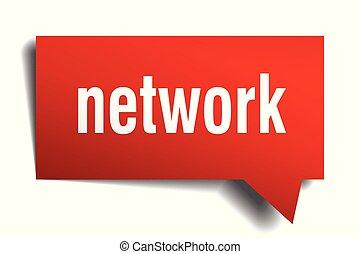 bulle discours, réseau, rouges, 3d