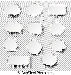 bulle discours, retro, fond, transparent