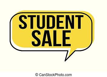 bulle discours, vente, étudiant
