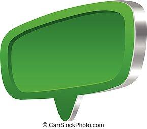 bulle discours, vert, 3d