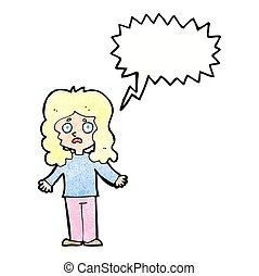 bulle, femme, parole, dessin animé, inquiété