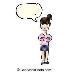 bulle, femme, parole, ennuyé, dessin animé