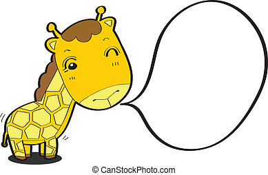 bulle, girafe, parole, dessin animé