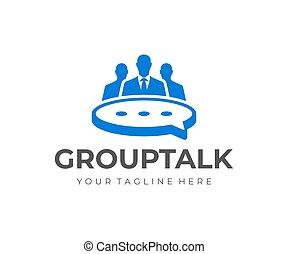 bulle, groupe, vecteur, gens, réunion, design., parole, conception, logo, table, business, formulaire
