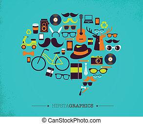 bulle, hipster, parole, icônes