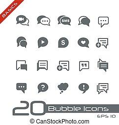 bulle, icônes, //, élémentsessentiels