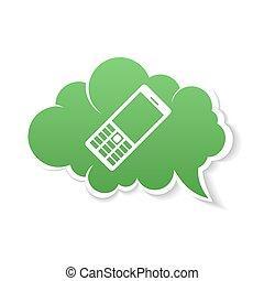 bulle, icon., téléphone, vert, parole
