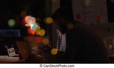 bulle, ordinateur portable, coloré, woking, bureau, businessworkers, animation, sur, nuit