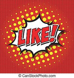 !, bulle, parole, comique, dessin animé, aimer