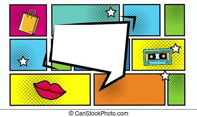 bulle, parole, expression, sauter art, style, paquet, éléments