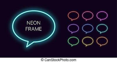 bulle, parole, gabarits, ensemble, néon, space., copie, monochrome, frontière