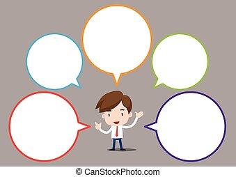 bulle, parole, homme affaires, dessin animé