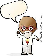 bulle, prof, parole, dessin animé