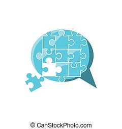 bulle, puzzle, parole, forme, morceaux