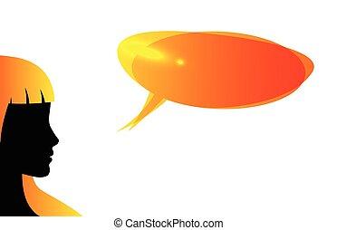 bulle, résumé, parole, silhouette, orateur