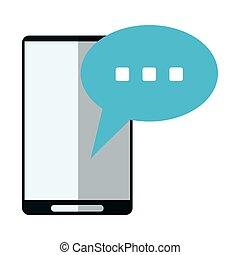 bulle, smartphone, parole, conversation