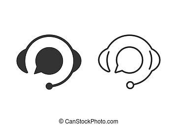 bulle, soutien, plat, icône, mettez stylique, parole, ligne blanche, arrière-plan., vecteur