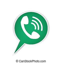 bulle, téléphone, vert, icône