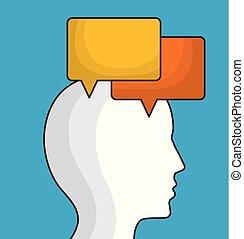 bulle, tête, parole, icône