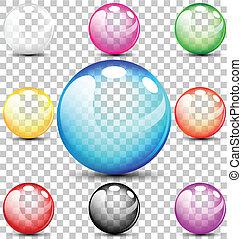 bulles, coloré, translucide