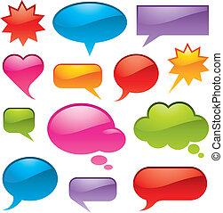 bulles, dans, divers, formes, et, couleurs