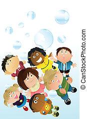 bulles, enfants jouer