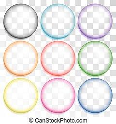 bulles, ensemble, multicolore
