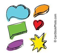 bulles, ensemble, parole, coloré