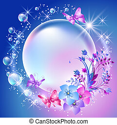 bulles, fleurs