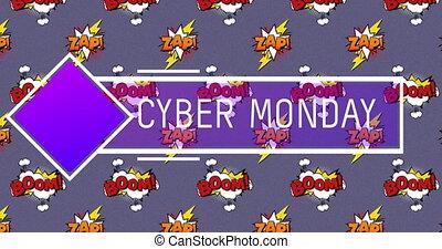 bulles, fond, flinguer, texte, sur, pourpre, cyber, contre, parole, boom, lundi