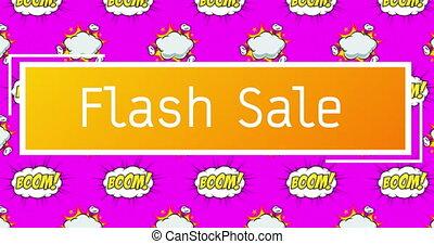bulles, fond, rose, texte, sur, vente, flash, contre, parole, boom