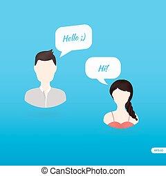 bulles, gens, parole, dialogue, icônes