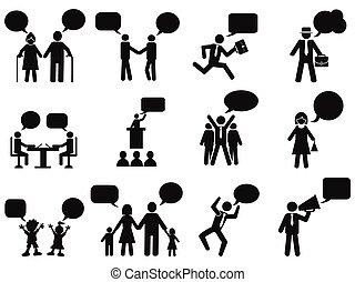 bulles, gens, parole, icônes