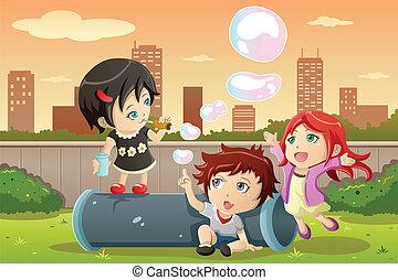 bulles, gosses, jouer
