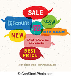 bulles, interactif, parole, vente, multicolore