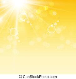 bulles, jaune, clair, fond