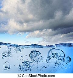 bulles, mer, vague