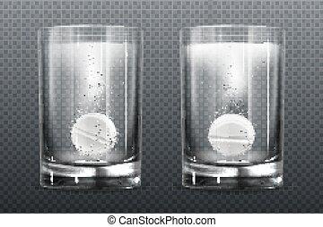 bulles, pétiller, verre, eau, pilule, effervescent