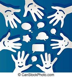bulles, papier, parole, faces, mains