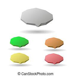 bulles, parole, coloré, 3d
