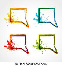 bulles, parole, coloré