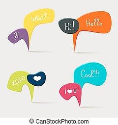 bulles, parole, coloré, questions