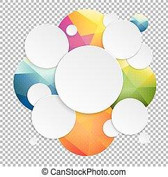 bulles, parole, fond, coloré, transparent