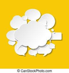 bulles, parole, fond jaune, icônes