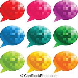 bulles, parole, pixel, coloré